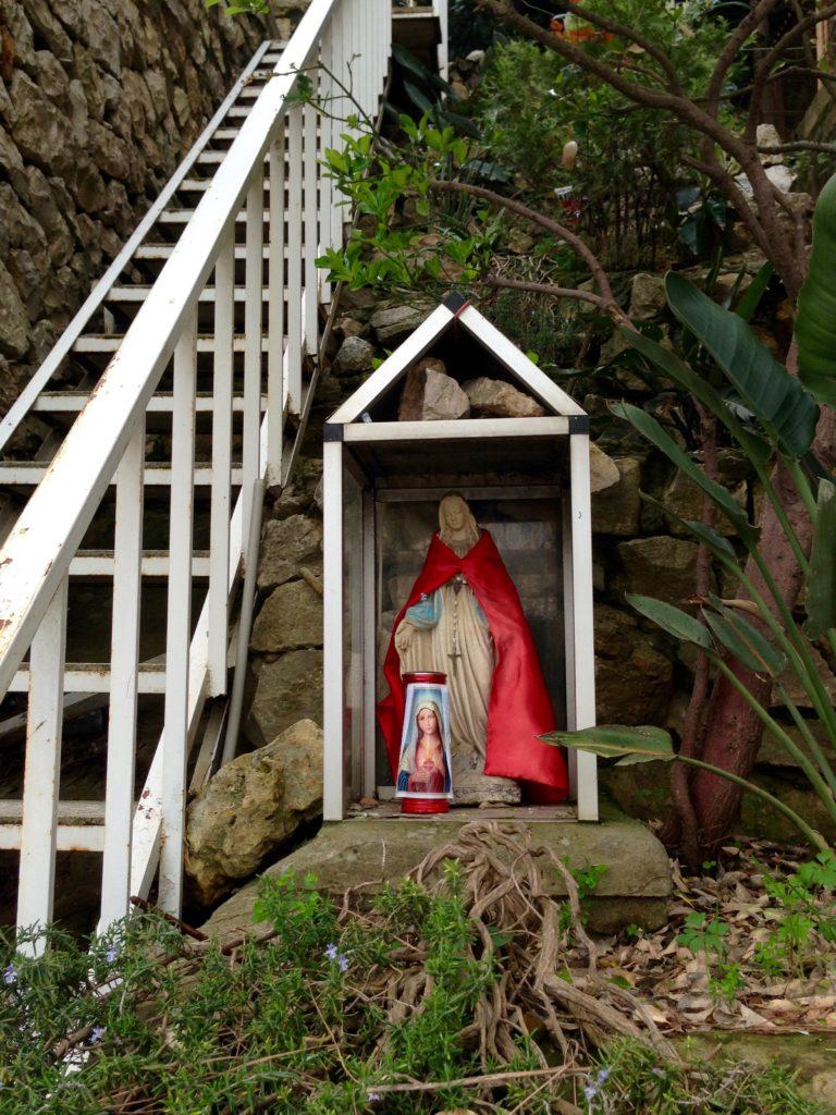 Virgin Mary mini shrine on private property