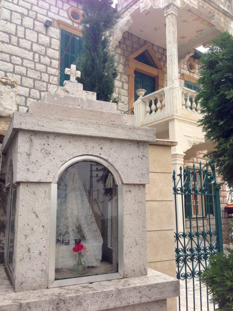 Mini shrine for the Virgin Mary outside an old-style Lebanese villa