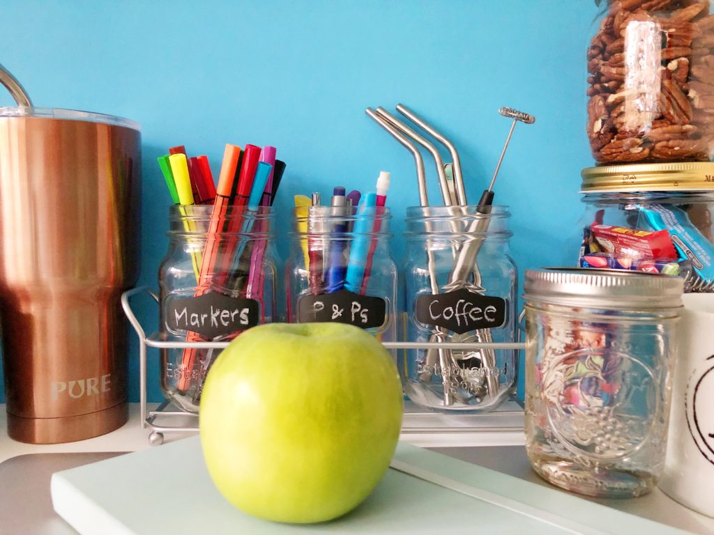 Jars for desk accessories and snack storage