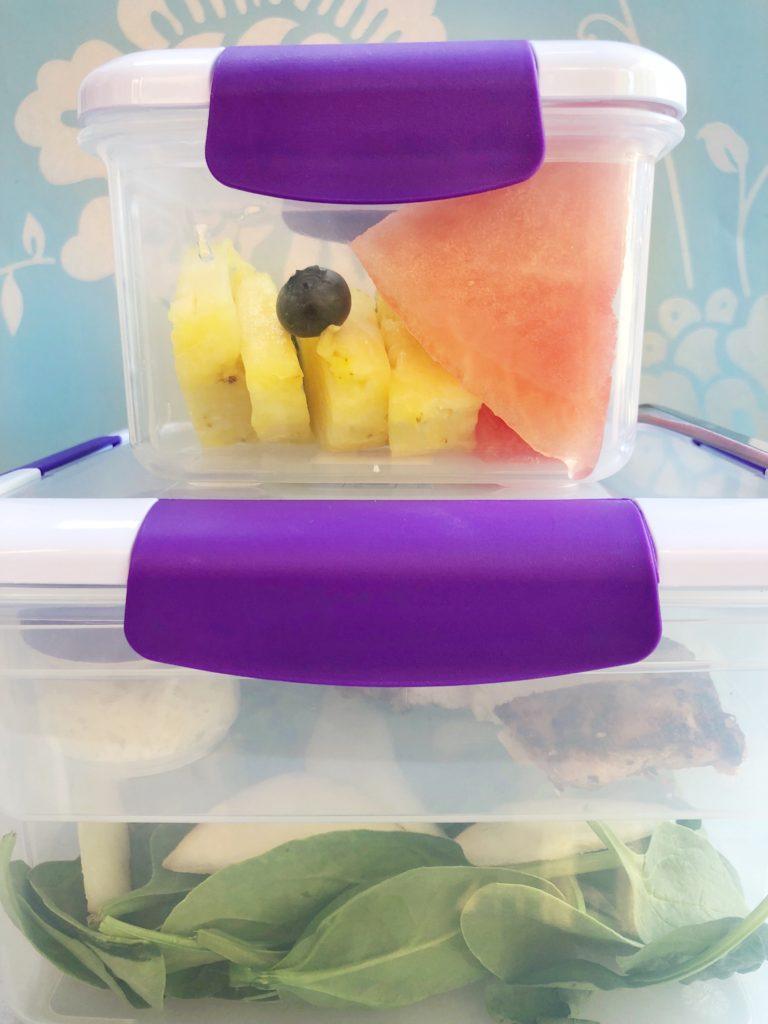 Spinach & Chicken Salad in a Locksy Bento Box